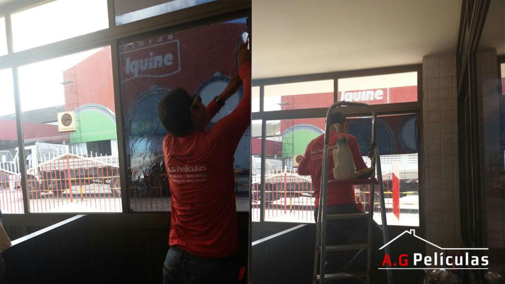 Remoção e aplicação de película em janelas da iquine